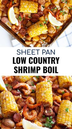 This sheet pan low country boil combines the spicy flavors of the south. Using shrimp, corn, sausage, potatoes and old bay seasoning, you can make a shrimp boil in the oven with minimal clean up. Healthy Summer Recipes, Dinner Recipes Easy Quick, Quick Easy Meals, Shrimp Boil In Oven, How To Cook Shrimp, Spicy Shrimp Boil Recipe, Kabasa Recipes, Kitchen Recipes, Donut Recipes