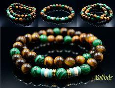 Handmade Malachite and Tiger's Eye Bracelet Set for Men.  - Bracelet Set is elastic  - Beads size - 8 mm