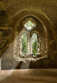 Netley Abbey sunbeams through gothic arches, photo by Keith Holdaway
