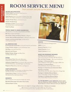 Cunard Room Service Breakfast Menu