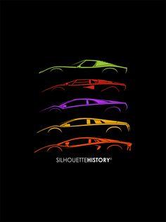 Italian Bulls V12 SilhouetteHistory Silhouettes of the Lamborghini mid-engined V12 cars: Miura, Countach, Diablo, Murcielago and Aventador