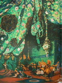Esquisse pour le décor du ballet Schéhérazade de Rimsky-Korsakoff par Léon Bakst (1910) by Yvette Gauthier, via Flickr