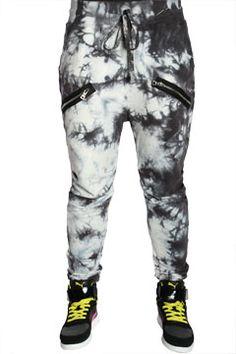 Charcoal Tie-Dye Twin Zipper Streetwear Sweatpants at Threader® Streetwear, Hip Hop Clothing, and Urban Clothing