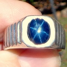 Men's Blue Star Sapphire Man's Ring Hand Crafted by Steampunkitis