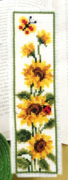 Insects and Sunflower Bookmark - a Vervaco cross stitch Bookmark kit