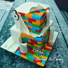 This is a tutorial on how I made this Lego Cake. This is my second Lego Cake tutorial. The first tutorial can be found here and is for the Lego Cake… Lego Cake Tutorial, Fondant Cake Tutorial, Bolo Lego, Cake Shapes, Marshmallow Fondant, Superhero Cake, Lego Birthday, Birthday Cake, Cake Cover