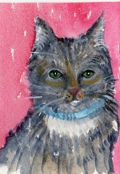 ACEO Original Tabby Cat Painting watercolor by SharonFosterArt, $7.50