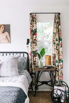patterned curtains in a minimalist bedroom