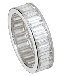 Cute Cartier platinum paved baguette cut diamond ring