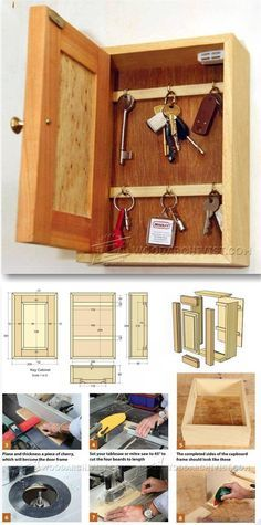 Key Cabinet Plans - Woodworking Plans and Projects - Woodwork, Woodworking, Woodworking Tips, Woodworking Techniques Woodworking Furniture Plans, Easy Wood Projects, Woodworking Basics, Woodworking Projects That Sell, Woodworking Workbench, Project Ideas, Woodworking Shop, Woodworking Ideas, Key Cabinet