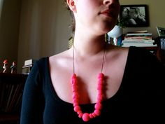 Neon Hot Pink Clay Bead Statement Necklace