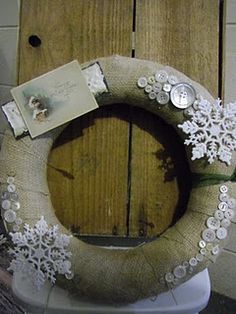 burlap, buttons, and snowflakes wreath