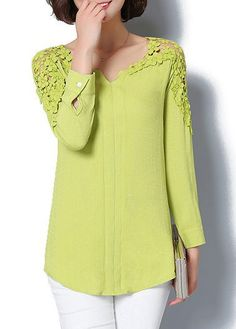 Solid Green Split Neck Lace Panel Curved Blouse  | Rosewe.com - USD $25.46