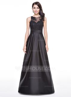 A-Line/Princess Scoop Neck Floor-Length Satin Tulle Evening Dress With Ruffle Beading Appliques Lace Sequins (017056521)