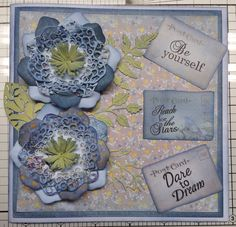 A lovely little card made using Prima papers, My Paper Stash Blooming Marvellous paper pads and Tattered Lace Lavish Bloom dies
