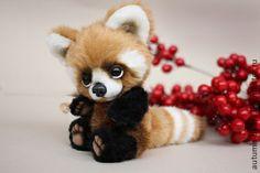 Teddy Bears handmade. Fair Masters - handmade red panda Louis. Handmade. Plush Animals, Felt Animals, Baby Animals, Cute Animals, Kawaii Diy, Teddy Toys, Felt Baby, Cute Little Things, Toy Craft