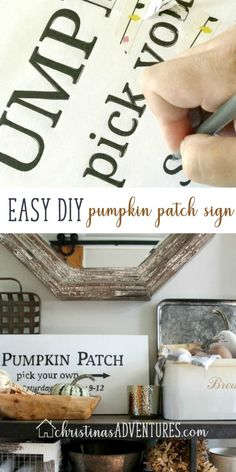 Learn how to make this simple DIY Pumpkin Patch Sign - no special tools required! Budget friendly farmhouse home decor sign for your fall decor. Diy Pumpkin, Home Decor Signs, Vintage Diy, Fall Diy, Christen, Easy Diy Projects, Fall Crafts, Halloween Diy, Decorating Tips