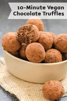 3-Ingredient Vegan Chocolate Truffles are a perfect holiday party treat or homemade gift. Throw them together in just 10 minutes and let them chill in the fridge until party time—for an easy dessert that will wow your guests' taste buds.