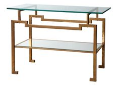 ANTON CONSOLE  METAL: ANTIQUE GOLD LEAF FINISH: MIRROR  Dimensions 42.5 X 15.5 X 29.5H