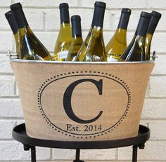 custom monogram wine bucket - great for parties