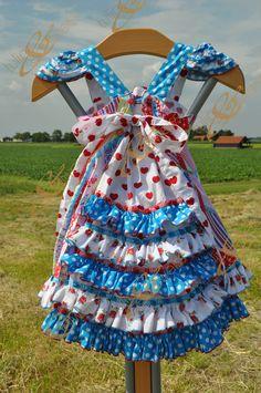 Girls Carmen Feliz dress with ruffles - size 5-6 - the back