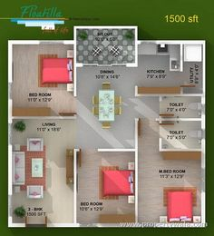 3 bedroom house plan in 1200 square feet eith nalukettu style house