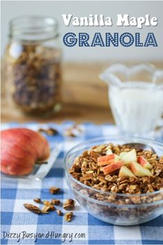 Vanilla Maple Granola - Quick and easy whole grain granola cereal drizzled with pure maple syrup and vanilla and baked to a satisfying crunch. Brunch Recipes, Breakfast Recipes, Dessert Recipes, Snack Recipes, Granola Cereal, Granola Bars, What's For Breakfast, Winter Food, Maple Syrup