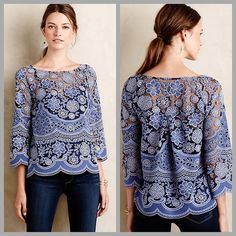 """❤️Anthropologie Lace Top❤️ This would be amazing with white jeans and red lipstick! I only consider reasonable offers through the offer button, NO TRADES!  Cotton-polyester lace; polyester lining Pullover styling Machine wash Regular: 23.5""""L Anthropologie Tops"""