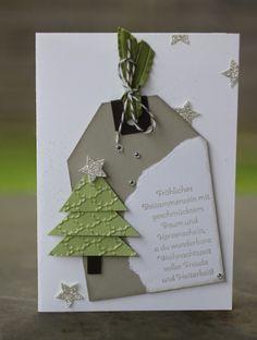 Christmas card with fir-tree - Weihnachten Happy New Year Cards, Happy New Year Wishes, Christmas Wreaths, Christmas Cards, Christmas Ornaments, Stampin Up, Art Carte, Scrapbook, Making Ideas