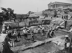 View of the west side of the Agora at the start of excavations in Section A, June View from the north toward the hill of Kolonos Agoraios and the Hephaisteion. Greece Pictures, Old Pictures, Old Photos, Vintage Photos, Parthenon Athens, Greece History, Ancient Greek Architecture, Gothic Architecture, Greece Photography