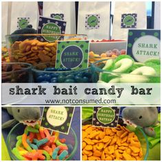 Shark bait candy bar is perfect for your shark themed party. 3rd Birthday Parties, Birthday Fun, Birthday Ideas, Blue Birthday, Bar A Bonbon, Shark Party, Under The Sea Party, Baby Shower, Party Ideas
