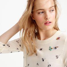 Petite Tippi sweater in embellished bee print : sweaters | J.Crew