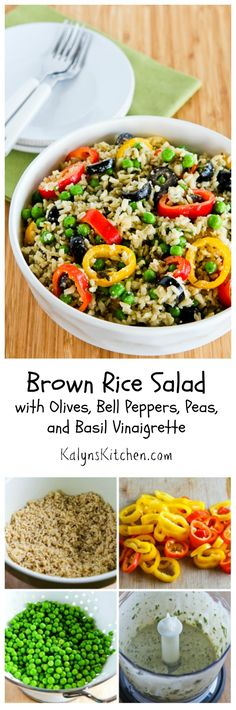 I first made this seriously yummy Brown Rice Salad with Olives, Bell Peppers, Peas, and Basil Vinaigrette about 10 years ago for a wedding shower, and I've been making it ever since then for summer holiday parties and family events. If you want a lower-carb version of the salad, use more peppers and olives and less peas and rice. #Vegetarian #GlutenFree #SummerSalad [from KalynsKitchen.com]