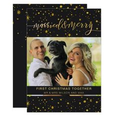 Married & Merry First Christmas Together Confetti Photo Holiday Card #Ad