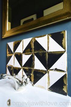 tiles Backsplash DIY - Luxurious Art Deco Inspired Geometric Tile Backsplash - From Evija with Love Dark Interiors, Beautiful Interiors, Diy Furniture Projects, Diy Projects, Upcycling Projects, Diy Tile Backsplash, Art Deco, Geometric Tiles, Diy
