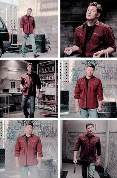 Demon Dean and his red shirt of lust. Dean Winchester Cosplay, Dean Winchester Hot, Smallville, Jensen Ackles, Demon Dean, Supernatural Destiel, Red Shirt, Beautiful Men, Fandoms