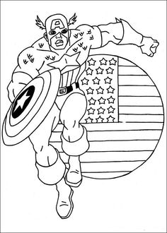 Printable coloring pages - Captain America (Superheroes)