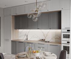 Hình ảnh của ДИЗАЙН СТУДИЯ А Б – Có hình ảnh Grey Kitchen Designs, Luxury Kitchen Design, Kitchen Room Design, Kitchen Cabinet Design, Home Decor Kitchen, Interior Design Kitchen, Kitchen Furniture, Kitchen Living, Home Kitchens