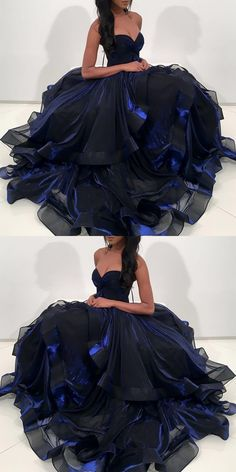 unique ball gown navy blue prom dresses, modest sweetheart organza party dresses, chic tiered evening gowns