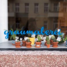 The shop window of graumalerei gallery in Berlin Neukölln has a tiny cactus parade demonstrating against racism.  Gallery by Anna Benner, Carolina Buzio, Theresa Grieben