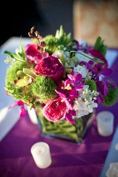 Fuchsia, Purple & Green Centerpiece