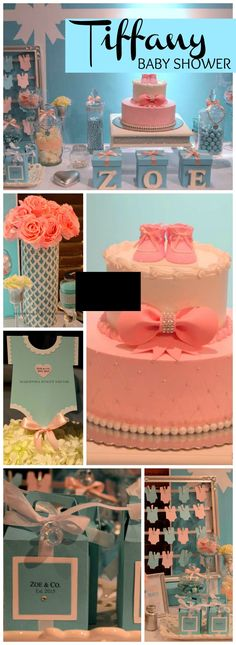 How pretty is this baby shower with a Tiffany theme?! See more party ideas at CatchMyParty.com!
