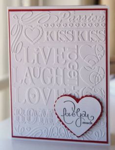 "OWH ""Love you much"" embossed card by airbornewife - Cards and Paper Crafts at Splitcoaststampers"