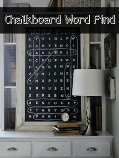 DIY Chalkboard Word Find - This would be a great decor idea for a b-day party, Christmas, any holiday or just for a fun, unexpected decor idea for any room in the house. Simple Wall Art, Diy Wall Art, Wall Decor, Easy Wall, Diy Chalkboard, Chalkboard Drawings, Chalkboard Lettering, Game Room Decor, Trendy Home