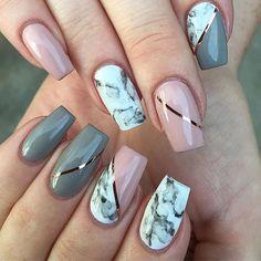 marble Pink and Grey Nails
