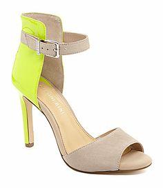 Gianni Bini Jaxxon HighBack Dress Sandals - OBSESSED with Neon Chartreuse