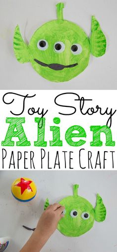 If your kids love Toy Story then they will love to create this fun and easy Toy Story Alien Paper Plate Craft. - : If your kids love Toy Story then they will love to create this fun and easy Toy Story Alien Paper Plate Craft. Disney Diy, Disney Crafts For Kids, Summer Crafts For Kids, Toddler Crafts, Children Crafts, Spring Crafts, Kids Toys, Arts And Crafts For Adults, Arts And Crafts House
