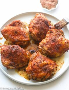 Baked Crispy Chicken Thighs - Immaculate Bites Crispy Baked Chicken Thighs - Baked Crispy Chicken Thighs- Loaded with flavor and Super easy to make- only 10 mins prep. You won't believe they are baked ! Dinner couldn't be any easier. Crispy Baked Chicken Thighs, Boneless Chicken Thighs, Chicken Thighs In Oven, Chicken Legs, Chicken Drumsticks, Oven Chicken, Asian Chicken, Teriyaki Chicken, Rotisserie Chicken