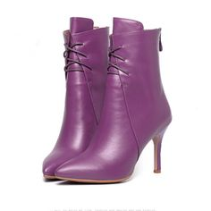 ==> [Free Shipping] Buy Best US Size 34-40 Purple Genuine Leather Sexy Thin High Heel Pointy Toe Ladies Trendy Ankle Boots Fashion Heels Online with LOWEST Price | 32537581318