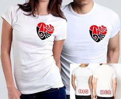 Playeras True Love Él & Ella $ 500  Estampado True Love en forma de corazón rojo y negro en ambas playeras, en la parte trasera frase His para ella y Her para él. Despedidas de soltera / Playeras San Valentín